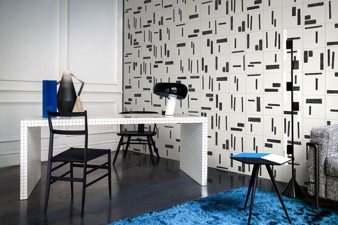 piastrella pavimento rivestimento design studiopepe primitiva bianco e nero graffito segno